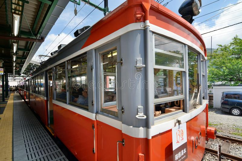 Eisenbahn Hakone Tozan Gora-Station Hakone, Kanagawa japan lizenzfreie stockfotos