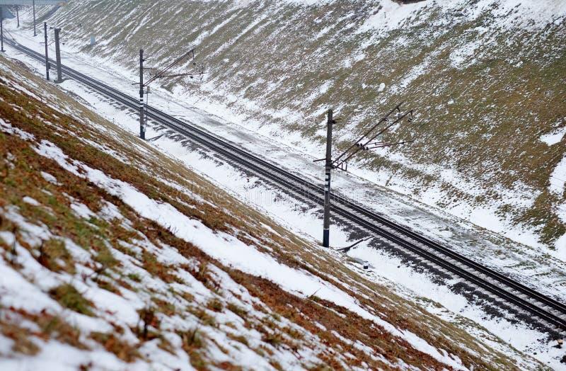Eisenbahn im Schnee lizenzfreie stockbilder