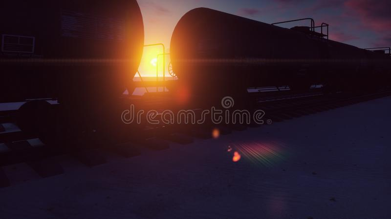 Eisenbahn mit den Zisternen, die durch sie mit Öl bei Sonnenuntergang überschreiten Wiedergabe 3d lizenzfreie stockfotos