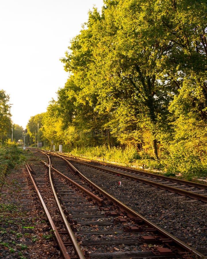 Eisenbahnlinie mit Bahnschalter lizenzfreies stockfoto