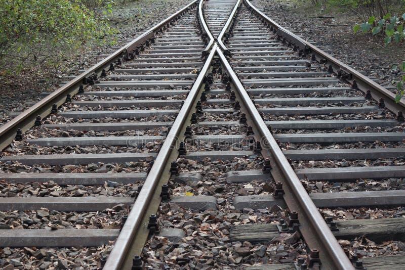 Eisenbahnspaltung - Schienenstränge aufgespaltet stockbilder