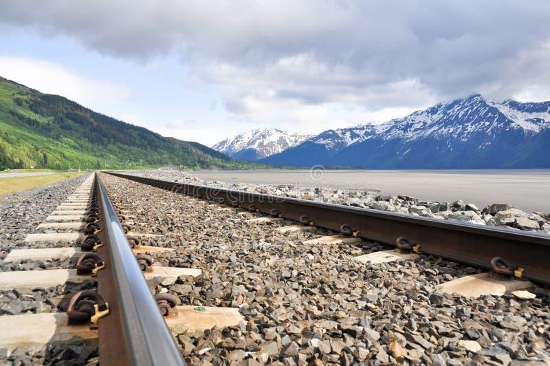 Eisenbahnspuren, die durch alaskische Landschaft laufen lizenzfreies stockbild