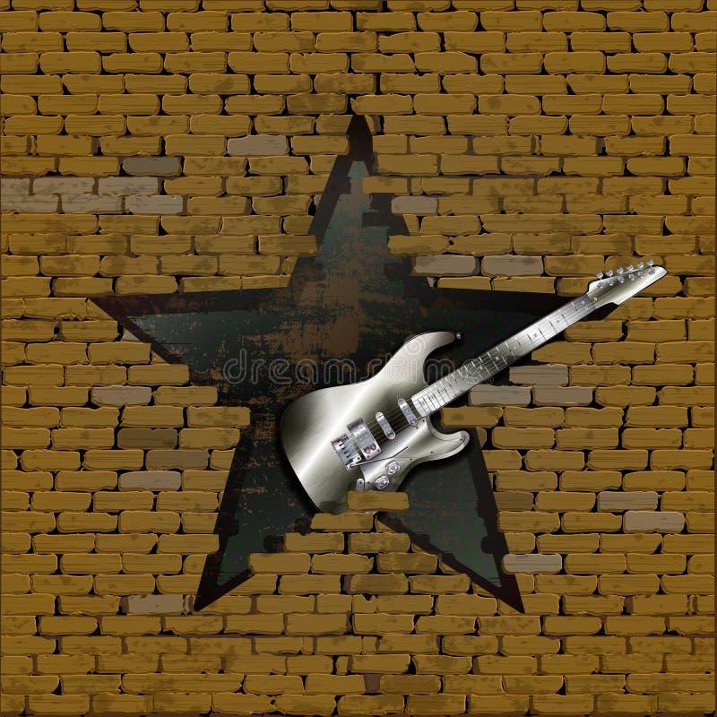 Eisene-gitarre im Bruch einer Backsteinmauer stock abbildung