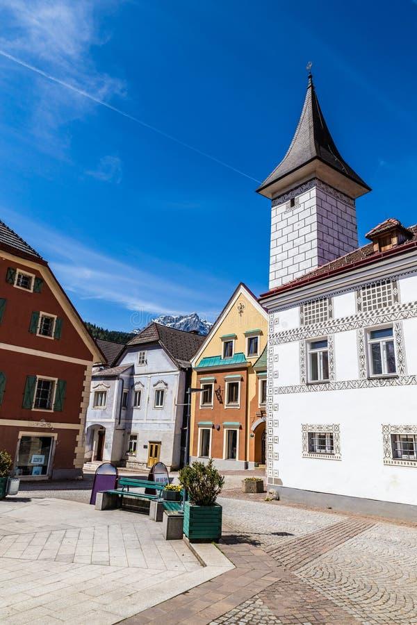 Eisenerz City Center-Austria,Styria. Traditional Buildings In Eisenerz City Center- Eisenerz, Styria, Austria, Europe stock photography