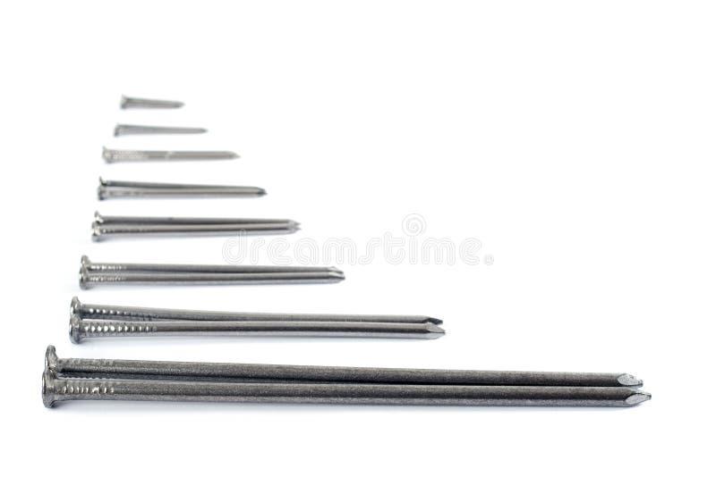 Eisennägel getrennt auf Weiß lizenzfreie stockfotos