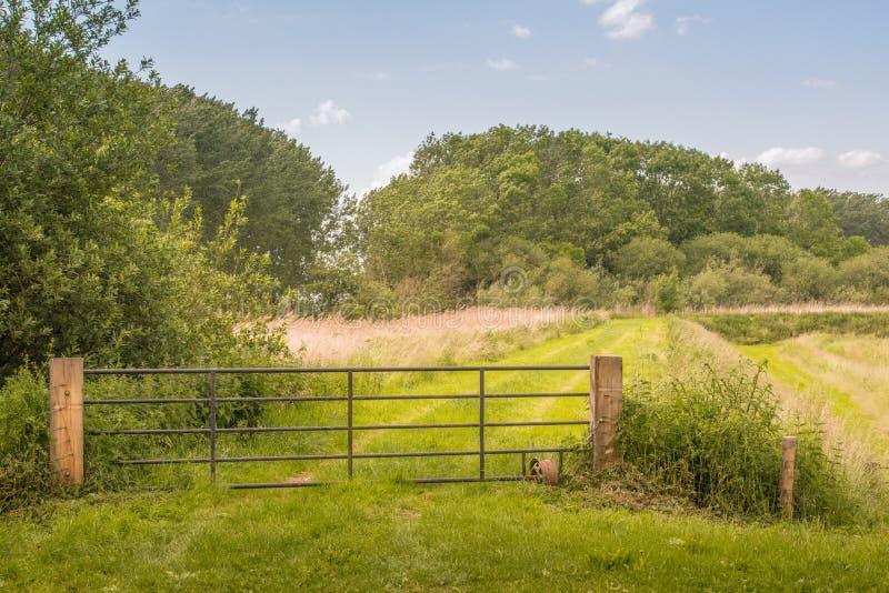 Eisentor in einer ländlichen Landschaft stockfoto