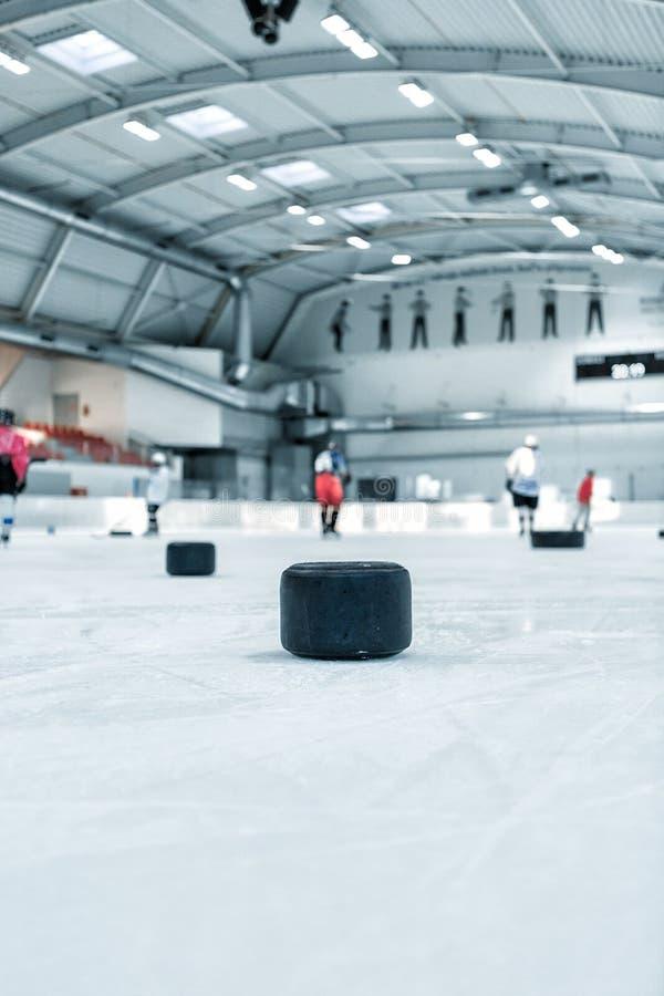 Eishockeyfeldhintergrund stockfoto