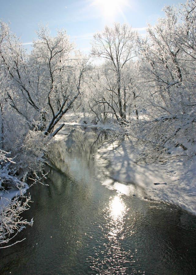Eisiger Iowa-Morgen stockfoto