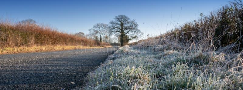 Eisiger Morgen im Cotswolds, Gloucestershire, Vereinigtes Königreich stockfotografie