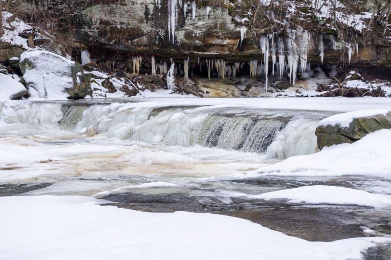 Eisiger Wasserfall bei Plum Creek stockfotos