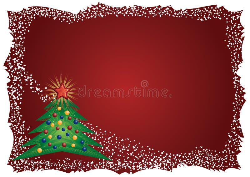 Eisiges Weihnachtsbaumfeld auf rotem Hintergrund lizenzfreie abbildung