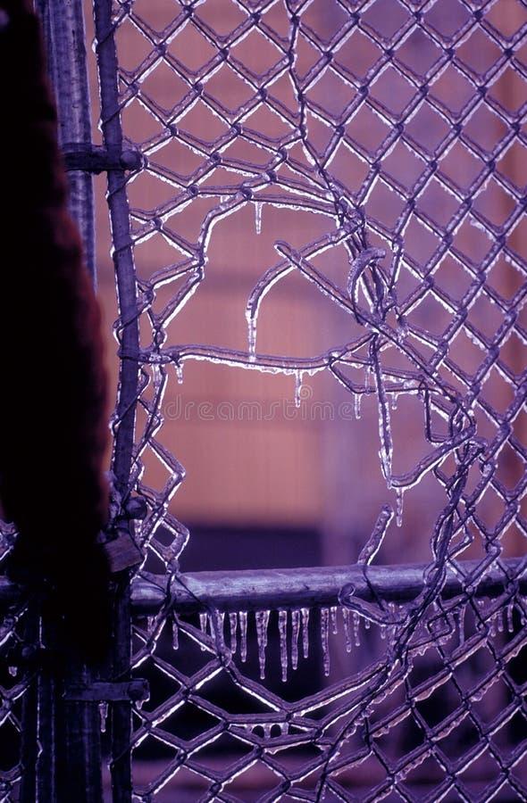 Download Eisiges Zaun-Loch stockfoto. Bild von überzogen, eisig, gebrochen - 45846