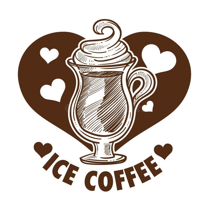Eiskaffeegetränk im Glasschaum der schale mit Sahne lizenzfreie abbildung