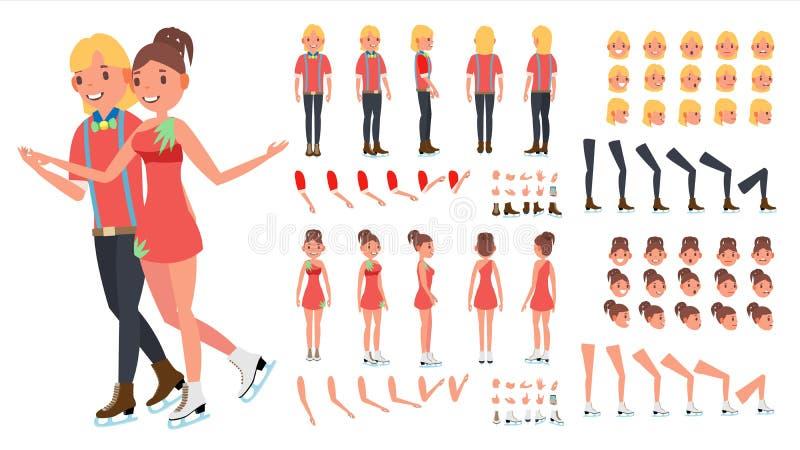 Eiskunstlauf-Paar-Vektor Frau und Mann Gehender Eiseislauf der schönen Frau lebhafter Charakterschaffungssatz In voller Länge, vo vektor abbildung