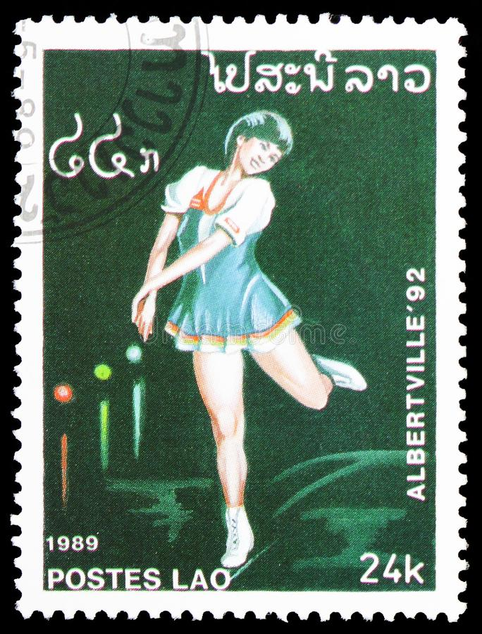 Eiskunstlauf (weiblich), Olympics serie, circa 1989 stockfotos