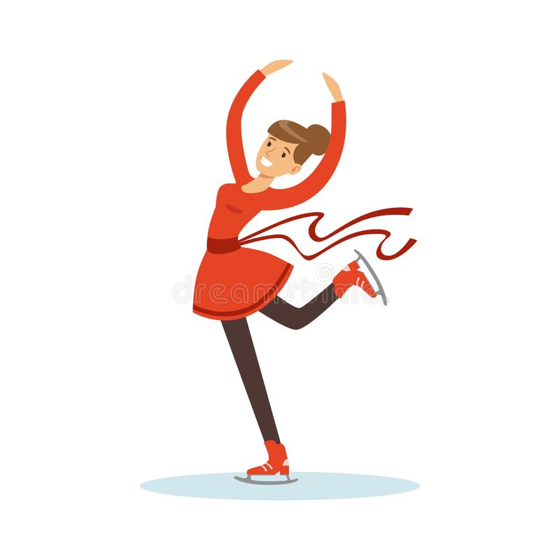 Eiskunstlaufmädchentraining auf dem Eis, aktive Sportlebensstil-Vektor Illustration stock abbildung