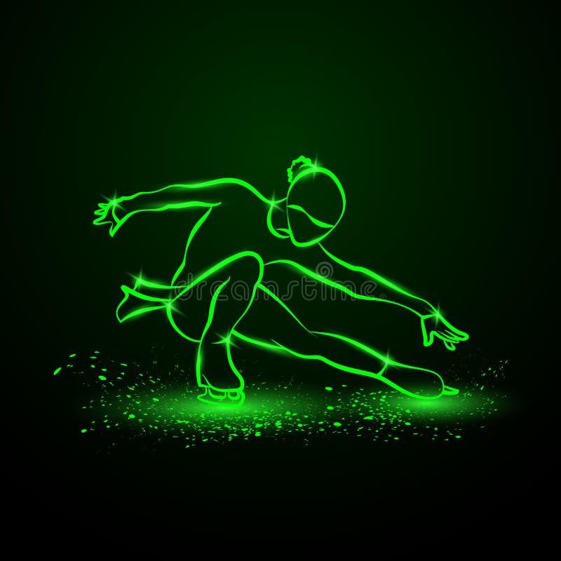 Eiskunstlaufneonillustration Das Mädchen auf Rochen führt ihren Tanz durch lizenzfreie abbildung