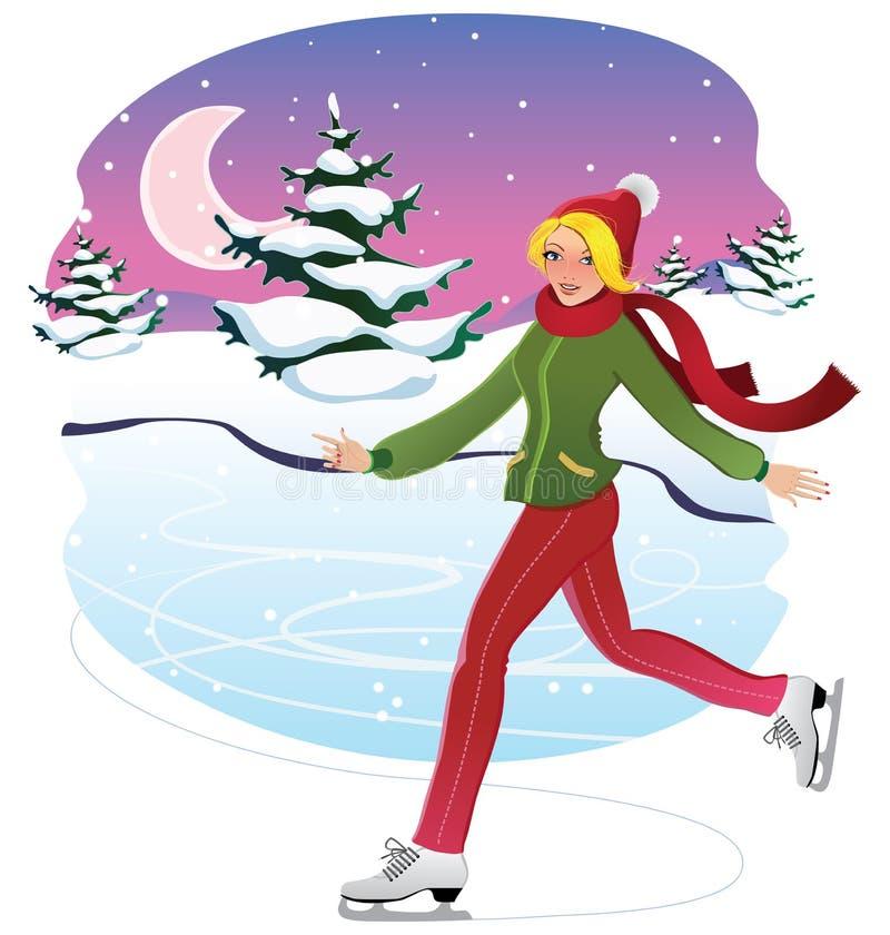 Eislaufenfrau lizenzfreie abbildung