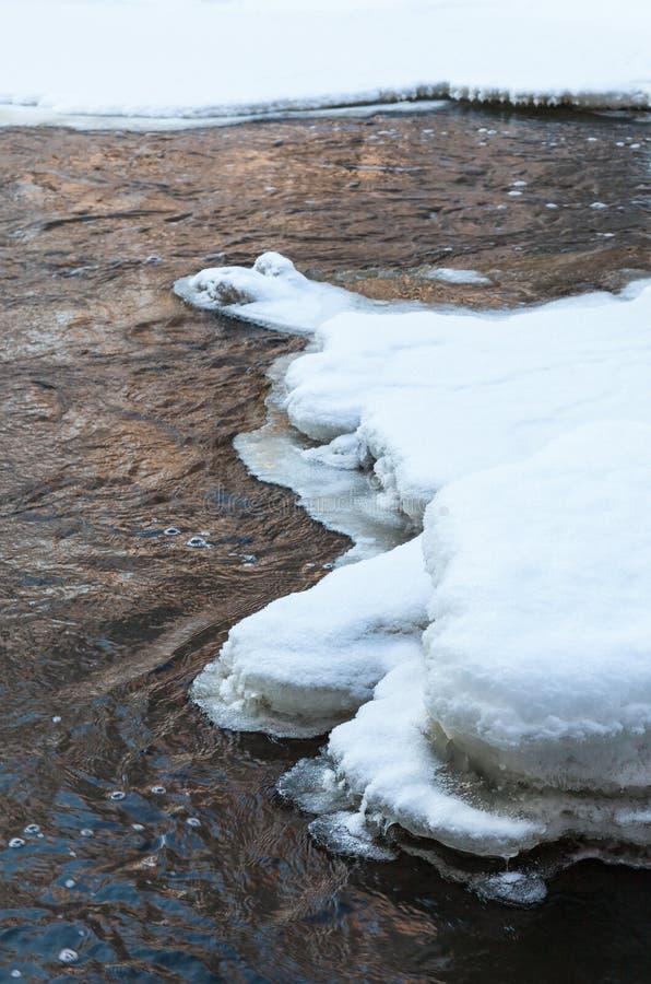 Eisscholle in einem Fluss stockfoto
