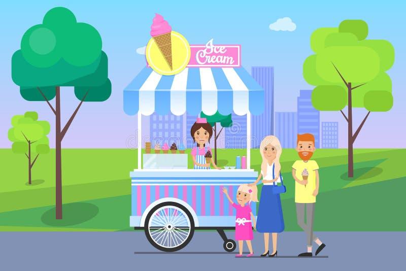 Eisstand-und Familien-Vektor-Illustration lizenzfreie abbildung