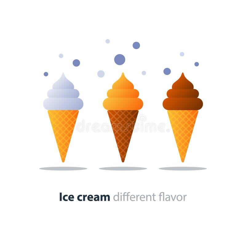 Eistüte, glasierende Schokolade, geschmackvolles Aroma, kühler Auffrischungsnachtisch vektor abbildung