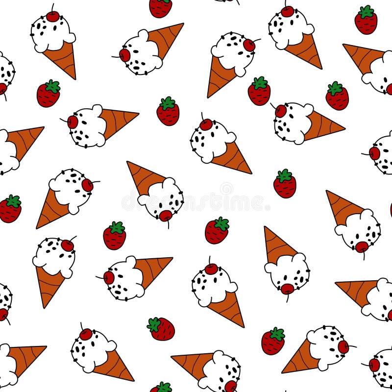 Eistüte und rote Erdbeere auf nahtlosem Muster des weißen Hintergrundes für die Verpackung vektor abbildung