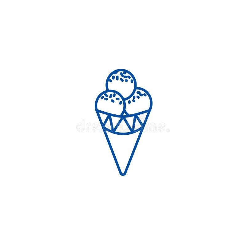Eistütelinie Ikonenkonzept Flaches Vektorsymbol der Eistüte, Zeichen, Entwurfsillustration lizenzfreie abbildung