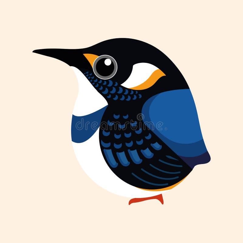 Eisvogelkarikaturvektor, Blau versah Eisvogelvogel-Karikaturvektor mit einem Band lizenzfreie stockfotografie