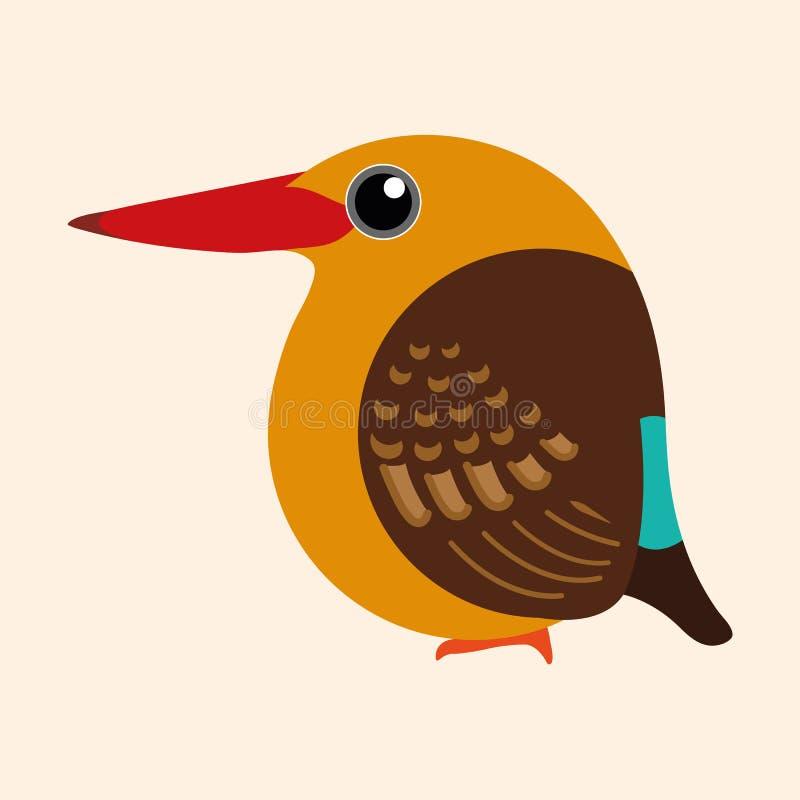 Eisvogelkarikaturvektor, brauner geflügelter Eisvogelvogel lizenzfreies stockfoto