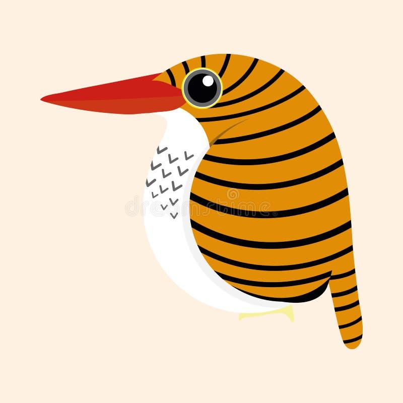 Eisvogelkarikaturvektor, Frau versah Eisvogel Lacedo-pulchella Karikaturvektor mit einem Band vektor abbildung