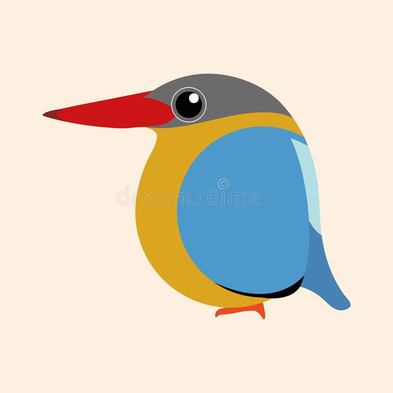 Eisvogelkarikaturvektor, Storch berechnete Eisvogelvogel-Karikaturvektor stock abbildung