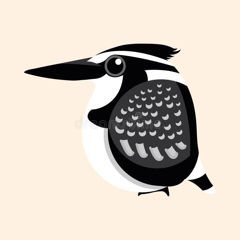Eisvogelkarikaturvektor, weiblicher gescheckter Eisvogel Ceryle rudis Karikaturvektor vektor abbildung
