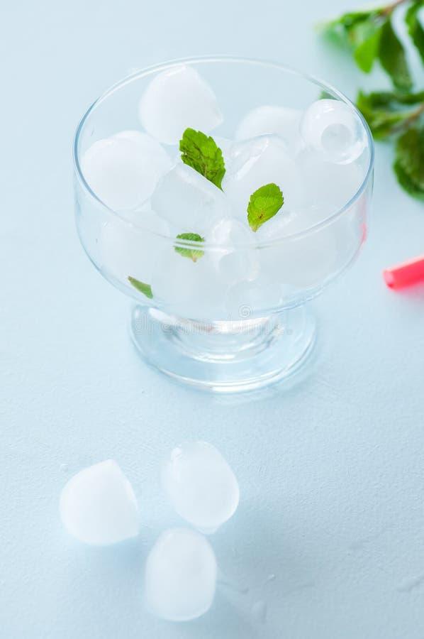 Eiswürfel in einer Glasschüssel mit tadellosen Blättern lizenzfreies stockbild
