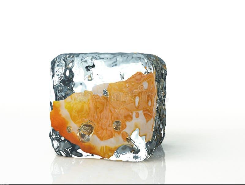 Eiswürfel und -orange lokalisiert auf weißem Hintergrund lizenzfreies stockfoto