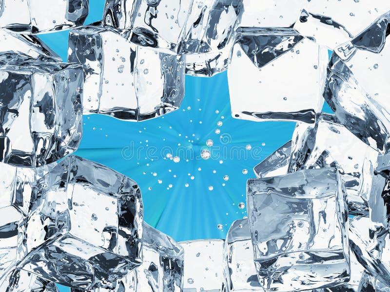 Eiswürfelhintergrund mit Leerstelle stockbilder