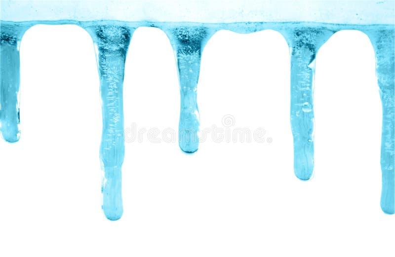 Eiszapfen auf Weiß stockbilder