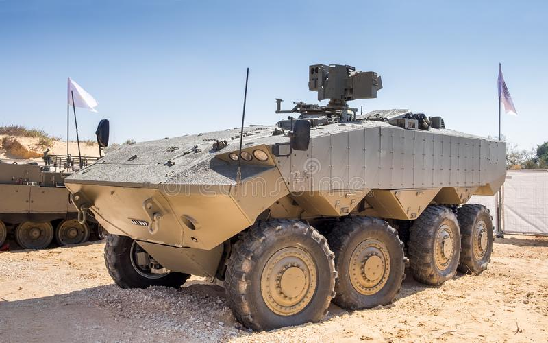 Eitan is an modern armoured fighting vehicle. HOLON, ISRAEL - SEPTEMBER 28, 2018: Eitan is an modern armoured fighting vehicle presented on military show royalty free stock photography