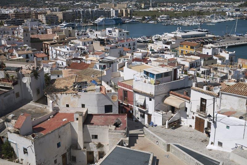 Eivissa镇看法  库存图片