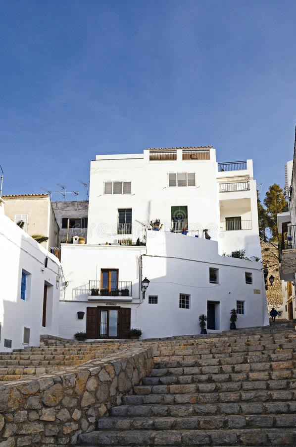 eivissa ibiza老西班牙城镇 免版税库存照片