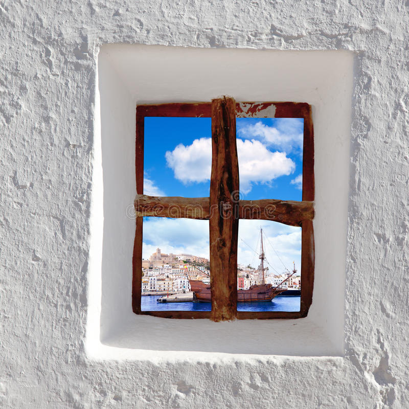 Free Eivissa Ibiza Town View Through Window Stock Photography - 25416582
