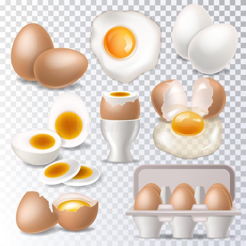 Eiwit of de dooier van het ei vormde het vector gezonde voedsel in egg-cup voor de reeks van de ontbijtillustratie van eierschaal stock illustratie