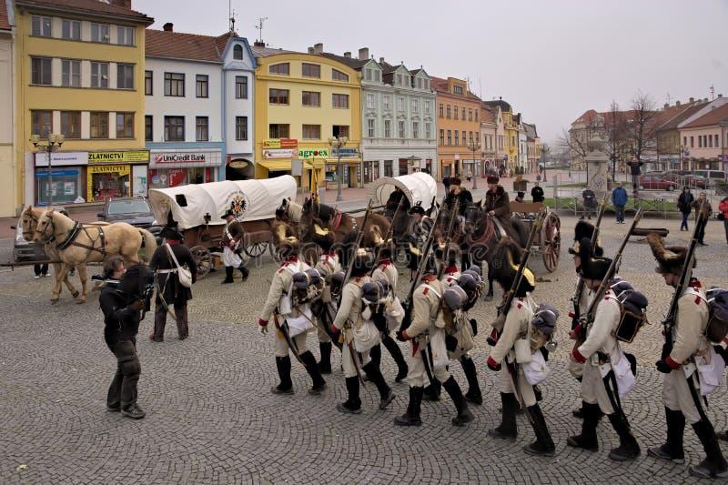 Ejército de Napoleons del desfile en Vyskov foto de archivo libre de regalías