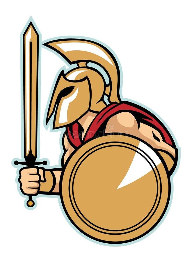 Ejército espartano con el escudo ilustración del vector