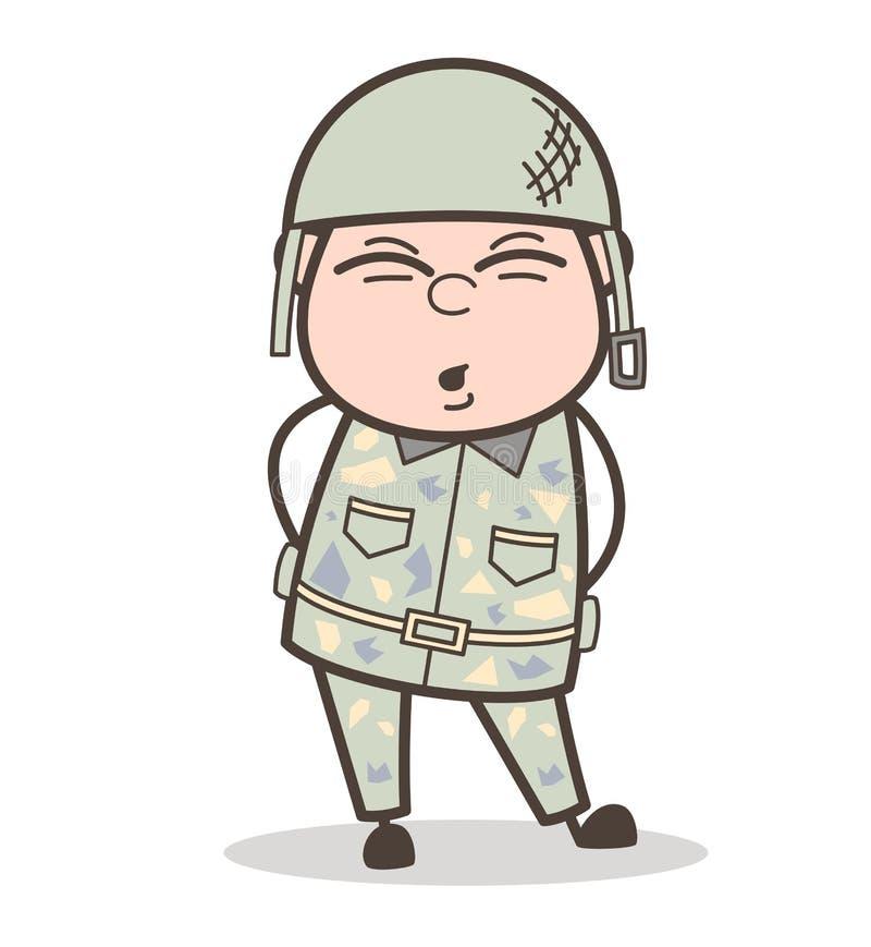 Ejército Guy Having Pain de la historieta en el ejemplo del vector de la cintura libre illustration