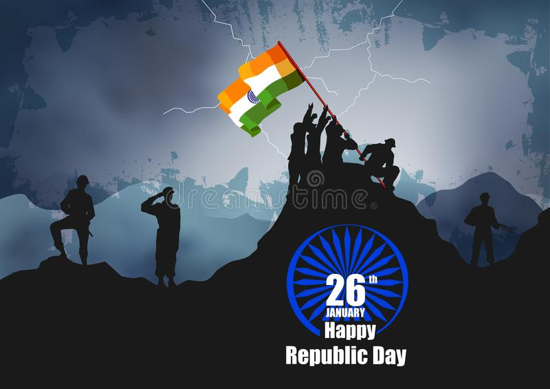 Ejército indio con la bandera para el día feliz de la república de la India ilustración del vector
