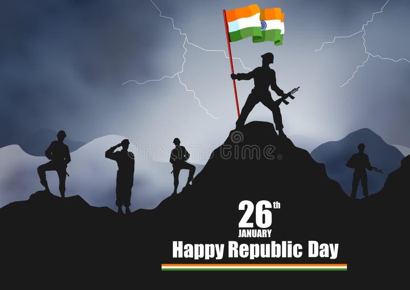 Ejército indio con la bandera para el día feliz de la república de la India stock de ilustración