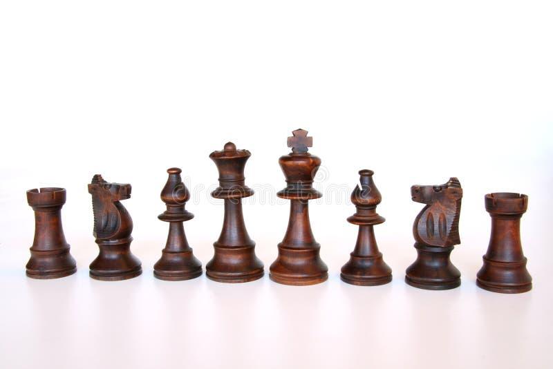 Ejército negro del ajedrez imagen de archivo