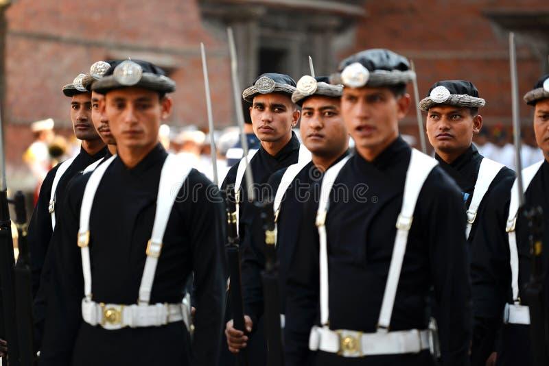 Ejército real nepalés del rey imagen de archivo