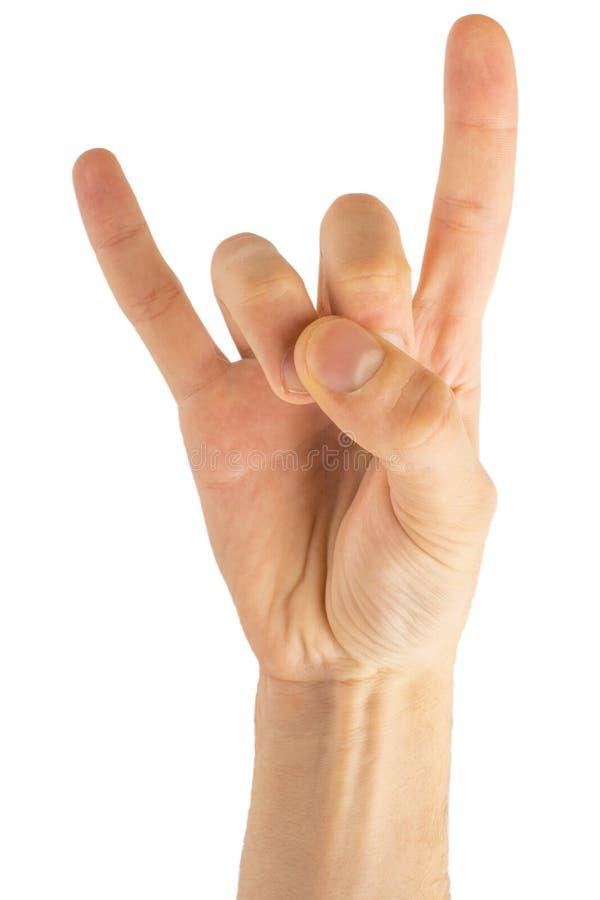 Eje de balancín de la mano del hombre en fondo blanco aislado Mano que da a cuernos gesto foto de archivo libre de regalías