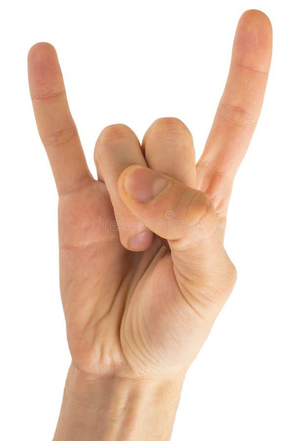 Eje de balancín de la mano del hombre en fondo blanco aislado Mano que da a cuernos gesto fotografía de archivo libre de regalías